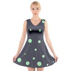 Green Bubbles V Neck Sleeveless Skater Dress