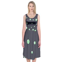 Green Bubbles Midi Sleeveless Dress