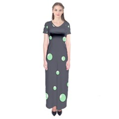 Green Bubbles Short Sleeve Maxi Dress