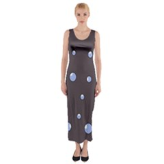 Blue Bubbles Fitted Maxi Dress