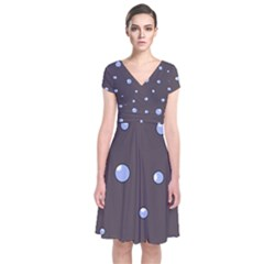 Blue Bubbles Short Sleeve Front Wrap Dress