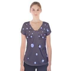Blue Bubbles Short Sleeve Front Detail Top