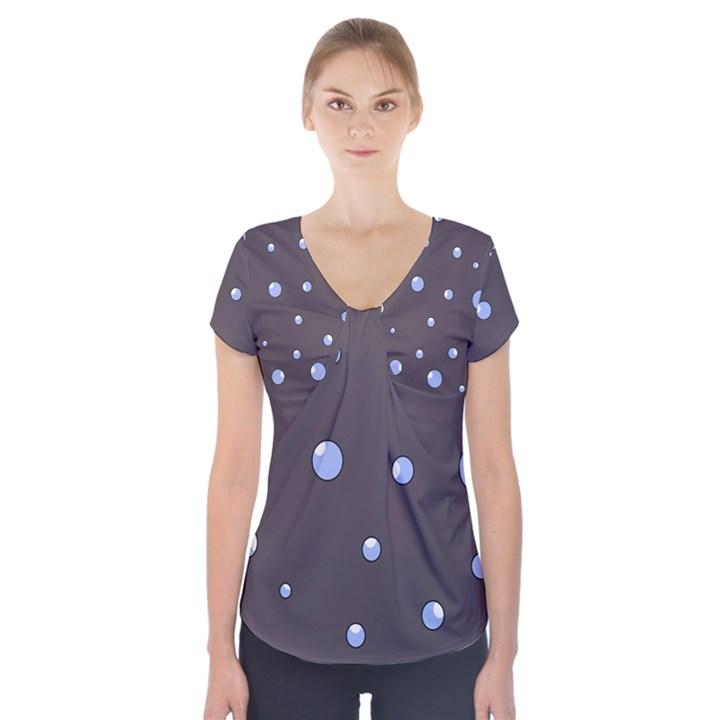 Blue bubbles Short Sleeve Front Detail Top