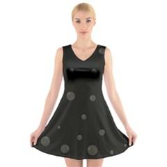Gray bubbles V-Neck Sleeveless Skater Dress