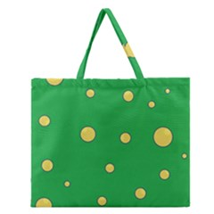 Yellow Bubbles Zipper Large Tote Bag