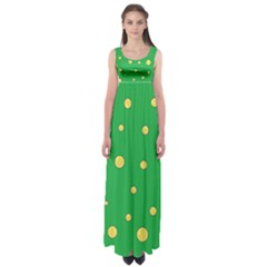 Yellow bubbles Empire Waist Maxi Dress