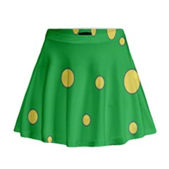 Yellow Bubbles Mini Flare Skirt