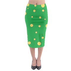 Yellow Bubbles Midi Pencil Skirt