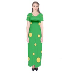 Yellow bubbles Short Sleeve Maxi Dress