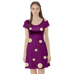 Purple and yellow bubbles Short Sleeve Skater Dress