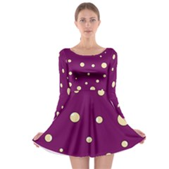 Purple and yellow bubbles Long Sleeve Skater Dress