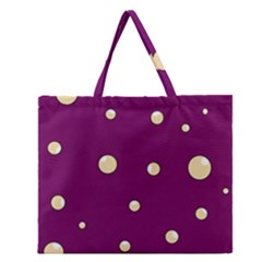 Purple and yellow bubbles Zipper Large Tote Bag