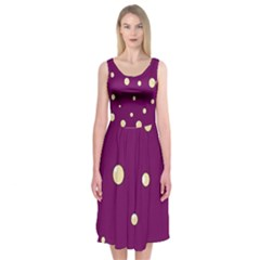 Purple And Yellow Bubbles Midi Sleeveless Dress