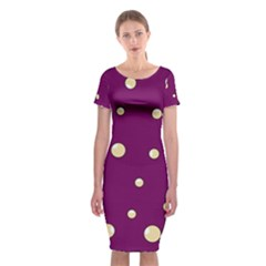 Purple And Yellow Bubbles Classic Short Sleeve Midi Dress