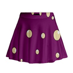 Purple And Yellow Bubbles Mini Flare Skirt