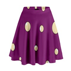 Purple And Yellow Bubbles High Waist Skirt