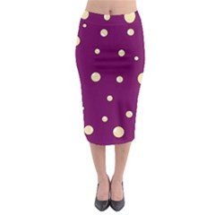 Purple And Yellow Bubbles Midi Pencil Skirt