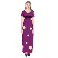 Purple And Yellow Bubbles Short Sleeve Maxi Dress