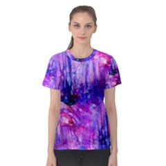 Purple Alcohol Ink Abstract Women s Sport Mesh Tee