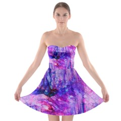 Purple Alcohol Ink Abstract Strapless Dresses