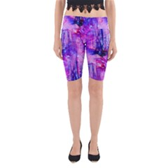 Purple Alcohol Ink Abstract Yoga Cropped Leggings