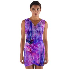 Purple Alcohol Ink Abstract Wrap Front Bodycon Dress
