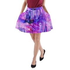 Purple Alcohol Ink Abstract A-Line Pocket Skirt