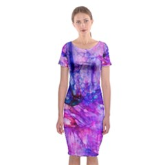 Purple Alcohol Ink Abstract Classic Short Sleeve Midi Dress