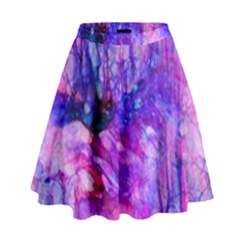 Purple Alcohol Ink Abstract High Waist Skirt