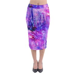 Purple Alcohol Ink Abstract Midi Pencil Skirt