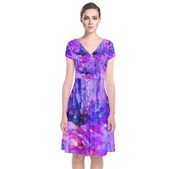 Purple Alcohol Ink Abstract Short Sleeve Front Wrap Dress