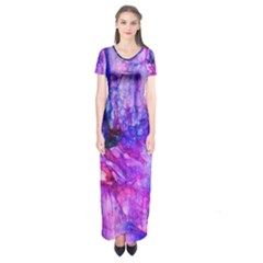 Purple Alcohol Ink Abstract Short Sleeve Maxi Dress