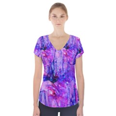 Purple Alcohol Ink Abstract Short Sleeve Front Detail Top