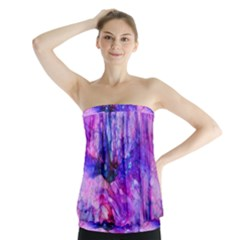 Purple Alcohol Ink Abstract Strapless Top