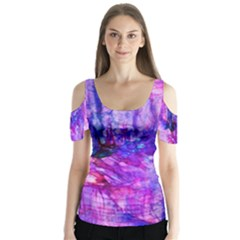 Purple Alcohol Ink Abstract Butterfly Sleeve Cutout Tee