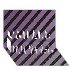 Purple Elegant Lines You Are Invited 3d Greeting Card (7x5)