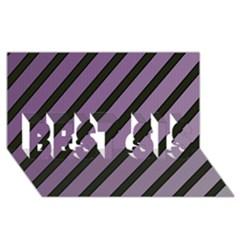 Purple Elegant Lines Best Sis 3d Greeting Card (8x4)