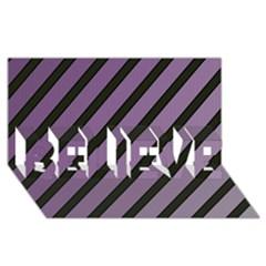 Purple Elegant Lines Believe 3d Greeting Card (8x4)