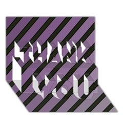 Purple elegant lines THANK YOU 3D Greeting Card (7x5)