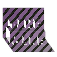 Purple elegant lines TAKE CARE 3D Greeting Card (7x5)