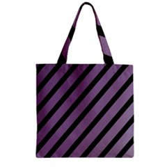 Purple elegant lines Zipper Grocery Tote Bag
