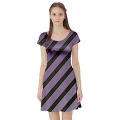 Purple elegant lines Short Sleeve Skater Dress