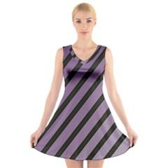 Purple elegant lines V-Neck Sleeveless Skater Dress