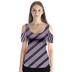 Purple Elegant Lines Butterfly Sleeve Cutout Tee