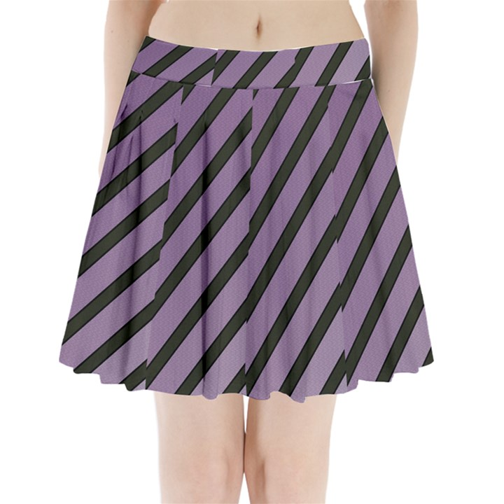 Purple elegant lines Pleated Mini Mesh Skirt