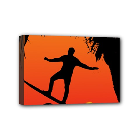 Man Surfing at Sunset Graphic Illustration Mini Canvas 6  x 4