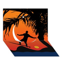 Man Surfing at Sunset Graphic Illustration Circle 3D Greeting Card (7x5)