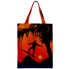 Man Surfing at Sunset Graphic Illustration Zipper Classic Tote Bag