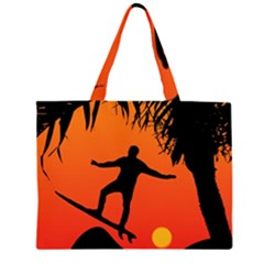 Man Surfing at Sunset Graphic Illustration Large Tote Bag