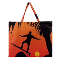 Man Surfing at Sunset Graphic Illustration Zipper Large Tote Bag